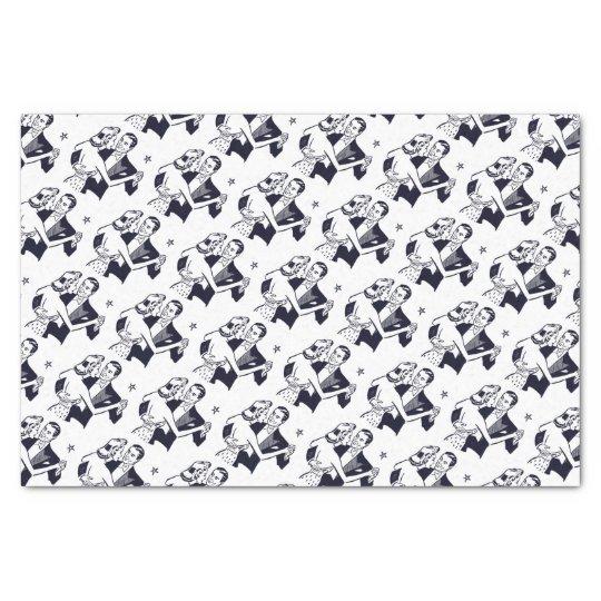 Black and White Retro Valentines Dancers Tissue Paper