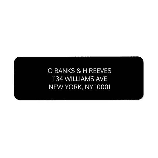 Black and white return address labels