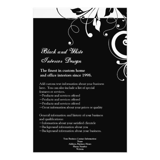Black and White Reverse Swirl Flyer or Program