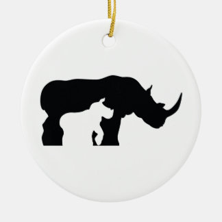 Black and White Rhino Christmas Ornament