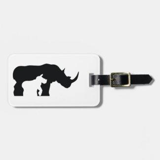 Black and White Rhino Luggage Tag