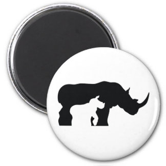 Black and White Rhino Magnet