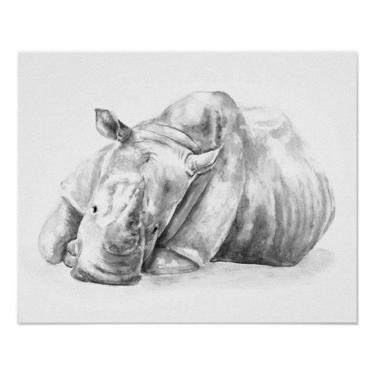 Black and white rhino poster
