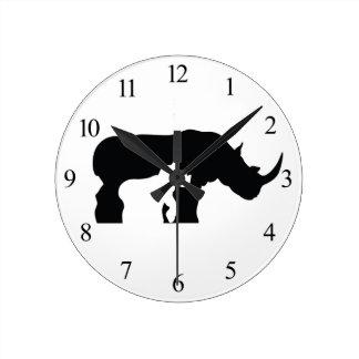 Black and White Rhino Round Clock