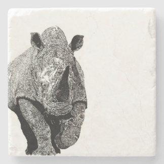 Black and white Rhino Stone Beverage Coaster
