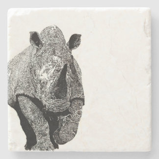 Black and white Rhino Stone Coaster