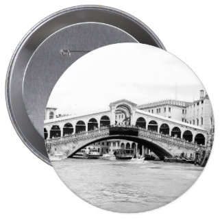 Black and White Rialto Bridge, Venice. Pinback Buttons