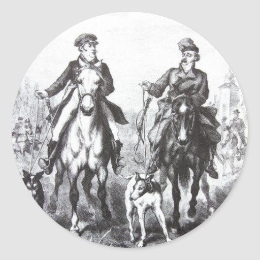 Black And White Riders On Horses Stickers
