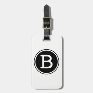 Black and White Ringed Circle Monogram Luggage Tag