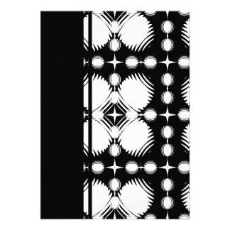 Black and White Ripples Big Invitation