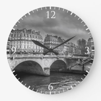 Black and White River Seine Large Clock