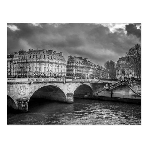 Black and White River Seine Post Cards