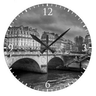 Black and White River Seine Wallclock