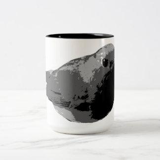 Black and white robin mug