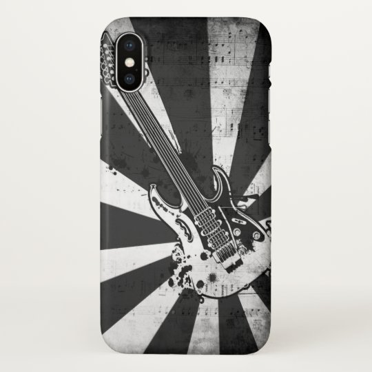 Black and White Rock Music Guitar Art iPhone