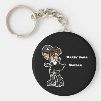 Black and White Roller Derby Jammer Customisable Basic Round Button Key Ring
