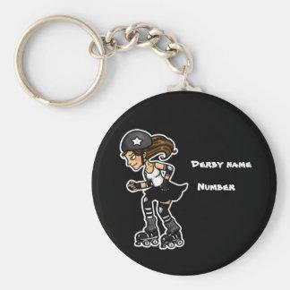 Black and White Roller Derby Jammer Customisable Key Ring