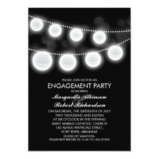 black and white romantic lanterns engagement party card