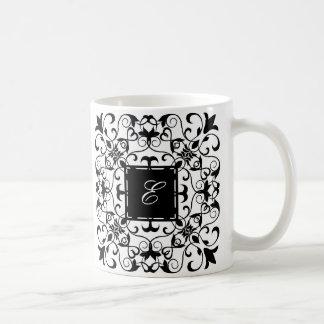 Black and White Romantic Ornate Monogram Coffee Mug