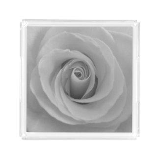 Black and White Rose Acrylic Tray