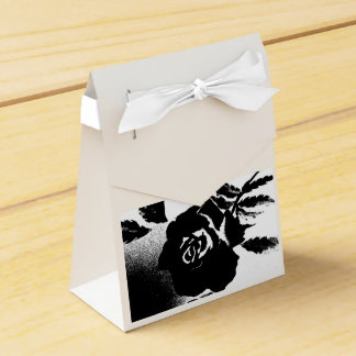 Black and White Rose Favor or Gift Bag Wedding Favour Boxes