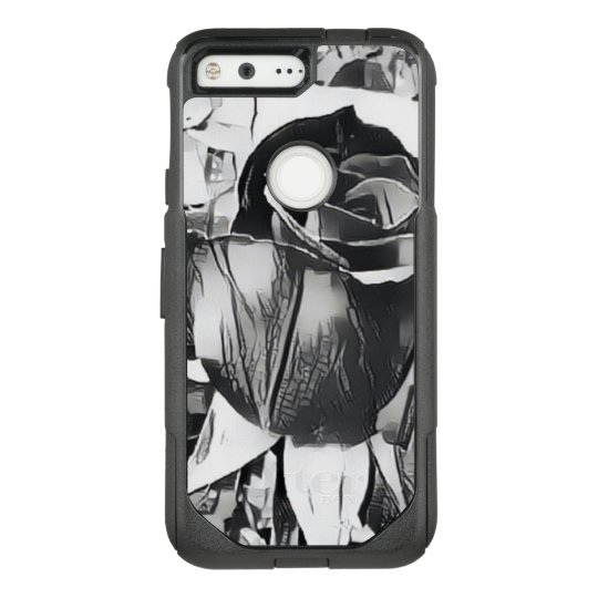 Black and White Rose Google Pixel Otterbox Case