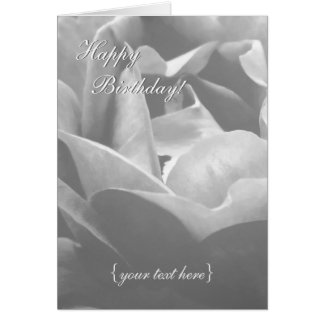 Black And White Rose - Happy Birthday Greeting Card