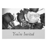 Black and White Rose Invitation