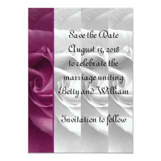 Black and White Rose Save the Date Card #2 - ELLEN 11 Cm X 16 Cm Invitation Card