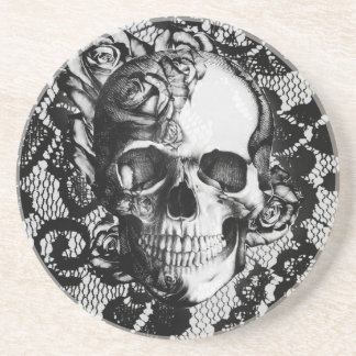 Black and white rose skull on lace background. drink coaster