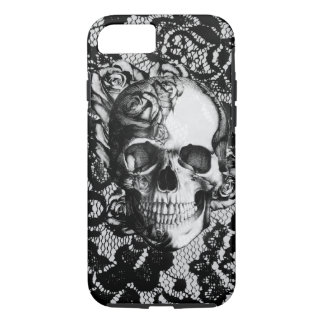 Black and white rose skull on lace background. iPhone 8/7 case
