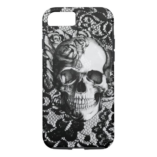 Black and white rose skull on lace background.