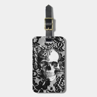 Black and white rose skull on lace background. luggage tag