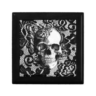 Black and white rose skull on lace background. small square gift box