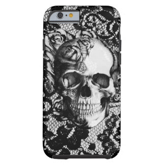Black and white rose skull on lace background. tough iPhone 6 case