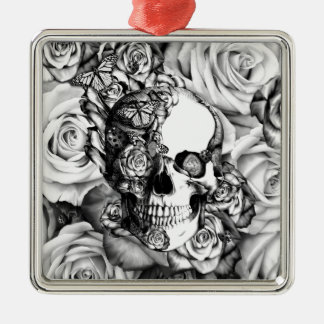 Black and white rose skull with butterflies christmas ornament