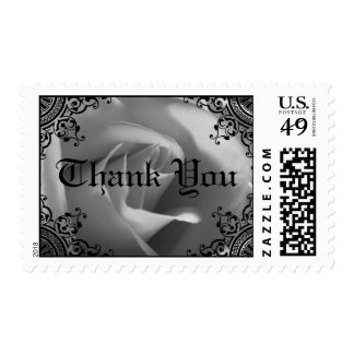 Black And White Rose Thank You Postage