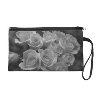 Black and white roses against spotted background wristlet