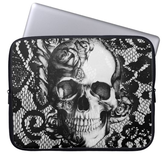 Black and white roses and lace skull laptop