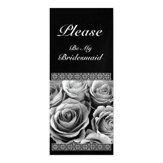 Black and White Roses - Bridesmaid Invitation
