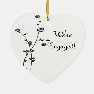 Black and White Roses Engagement Christmas Ornament