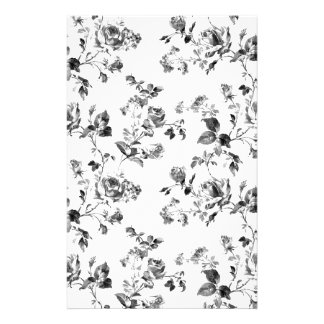 Black and White Roses Floral Pattern Stationery