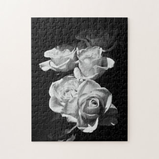 Black and white roses jigsaw puzzle