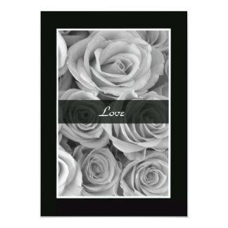 Black and White Roses Vow Renewal 13 Cm X 18 Cm Invitation Card