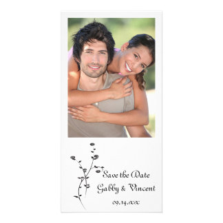 Black and White Roses Wedding Save the Date Photo Card Template