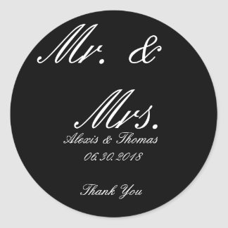 Black and White Round Mr. & Mrs. Wedding Stickers