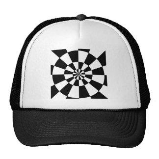 Black and White Round Spiral Trucker Hats