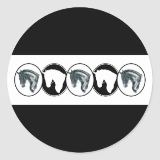Black and White Row of Dressage Horse Stickers