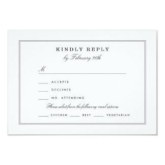 Black and White RSVP 9 Cm X 13 Cm Invitation Card