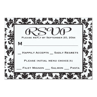 Black And White RSVP Damask Floral Wedding / Party 9 Cm X 13 Cm Invitation Card